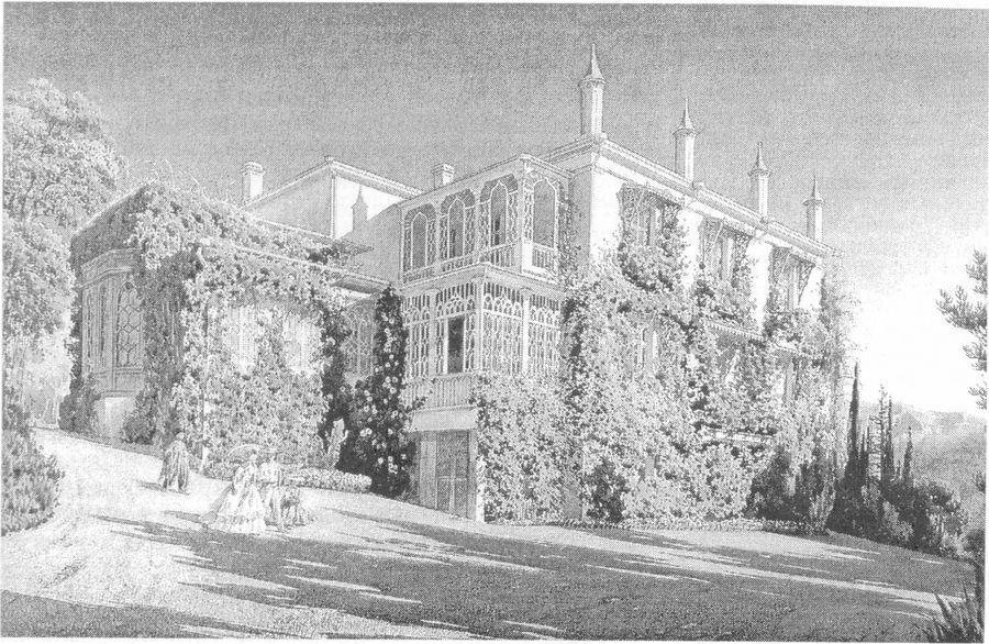 Дом Л.С. Потоцкого. Акварель. Л. Премацци. 1860 г.