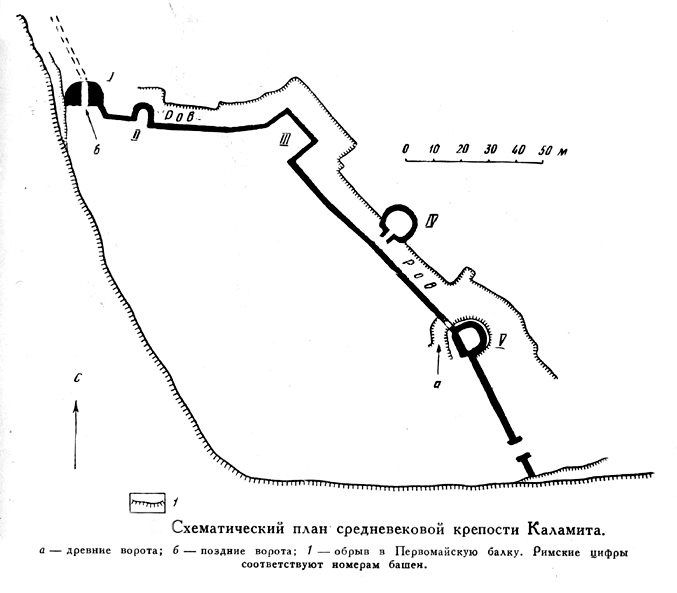 Схематический план крепости Каламита