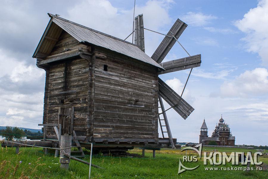 Мельница ветряная из д. Вороний остров и Преображенская церковь