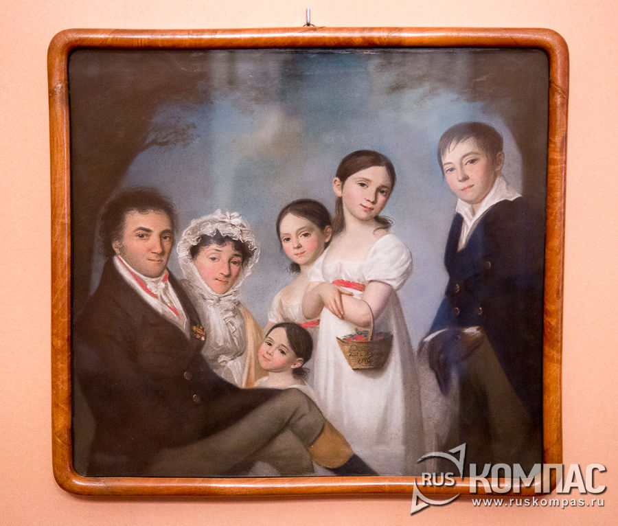 «Семейство Энгельгардт», художник Карл Барду,  1816 г. Казань. Холст грунтованный, пастель.