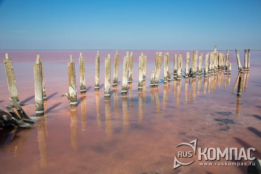 Столбы стоят в четыре ряда, образуя две параллельные дорожки, уходящие в озеро.