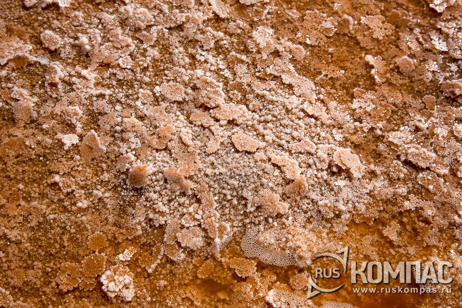 Содранные в пластины кристаллы розовой соли