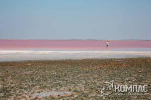 Еще издали видно, что вода в озере розовая