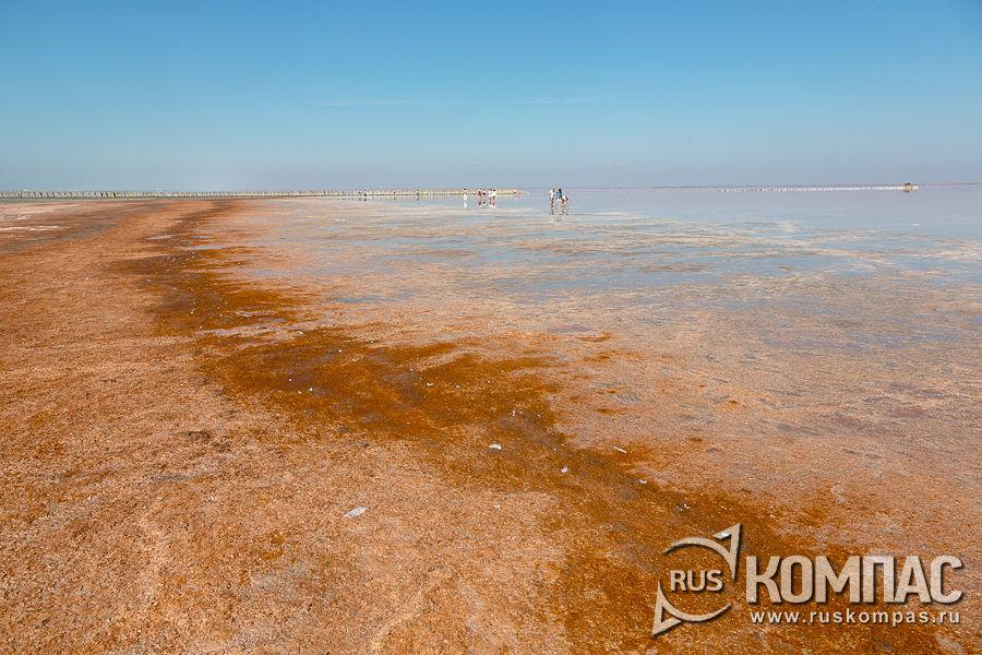 Оранжевая береговая граница и соляные полосы у кромки озера