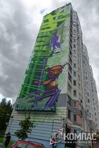 Ещё незаконченный шестидесятиметровый пиксельный рисунок Наталья Стручковой