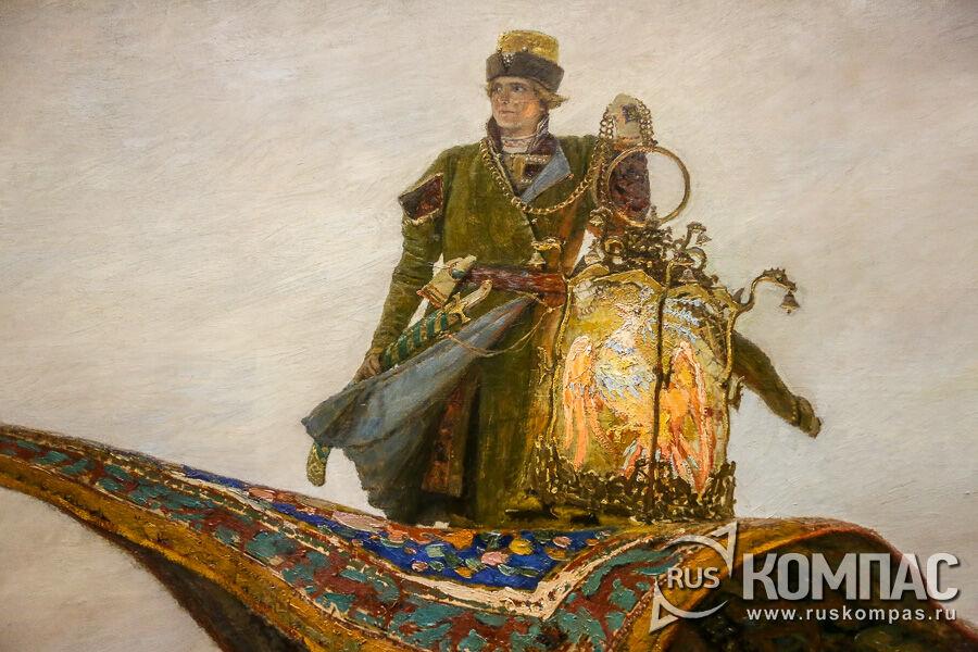 На ковре-самолете Иван-царевич возвращается из Тридесятого царства с жар-птицей