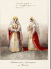 Придворный парадный наряд гофмейстерины при фрейлинах из малинового бархата с золотым шитьем