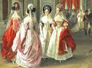 Как носили шлейф парадного придворного платья видно на картины Адольфа Ладюрнера «Гербовый зал зимнего дворца» 1838 г.