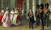 На картине Адольфа Ладюрнера «Гербовый зал зимнего дворца» (1838 г.) дамы в парадных придворных нарядах