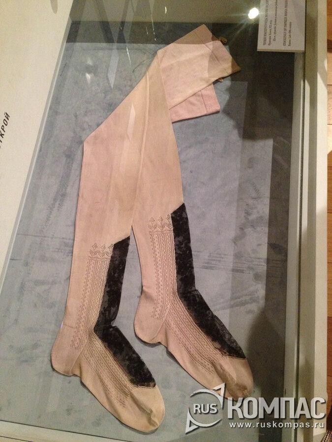 Французские шелковые чулки с контрастной ажурной вставкой